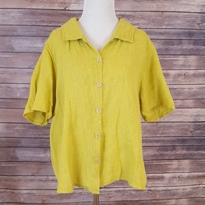 Flax Sheer Top Size L Button Front Short Sleeve